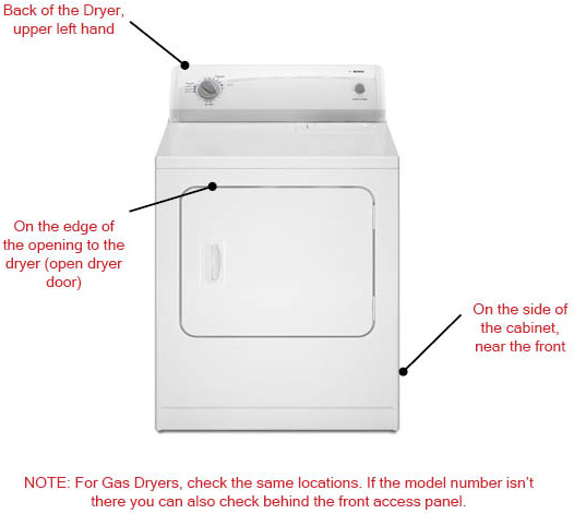 whirlpool dryer model number location