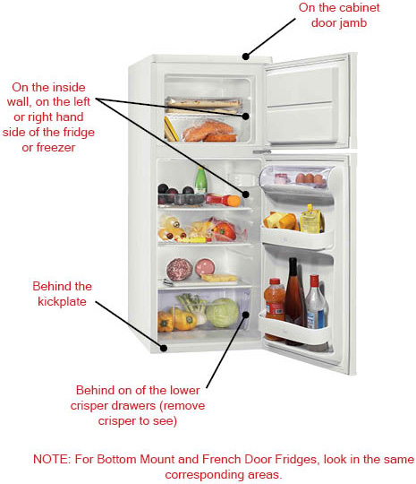 Locating The Model Number On A Refrigerator Reliable Parts